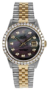 Rolex Rolex Men's DateJust Two-Tone Black Mop Diamond Watch 16013