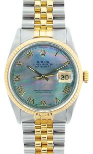 Rolex Rolex Men's DateJust Two-Tone Black Mother of Pearl Roman Dial Watch
