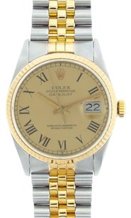 Rolex Rolex Men's DateJust Two-Tone Champagne Roman Dial Watch 16013