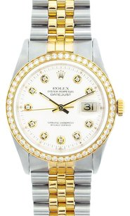Rolex Rolex Men's DateJust Two-Tone White Diamond Watch 16013