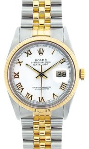 Rolex Rolex Men's DateJust Two-Tone White Roman Dial Watch 16013