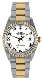 Rolex Rolex Men's DateJust Two-Tone White Roman Diamond Bezel Watch 16013