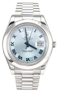 Rolex Rolex Men's Day-Date II Platinum Ice Blue Roman Dial Watch 218206