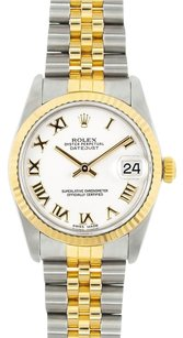 Rolex Rolex Midsize DateJust Two Tone White Roman Dial Watch 68273