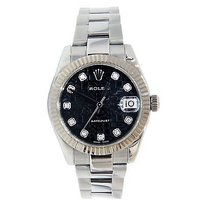 Rolex Rolex Midsize Stainless Steel Datejust Oyster 178274 Black Diamond Dial 31mm