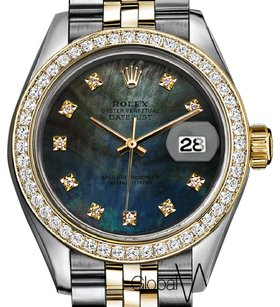 Rolex Rolex Natural Tahitian Forest Green Diamond Pearl 18K Yellow Gold Flut