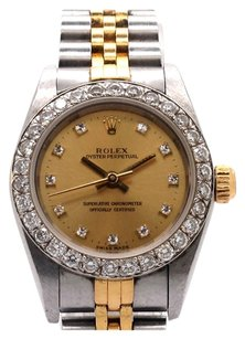 Rolex Rolex Oyster Perpetual 18K/SS Custom Diamond Dial Ladies Watch