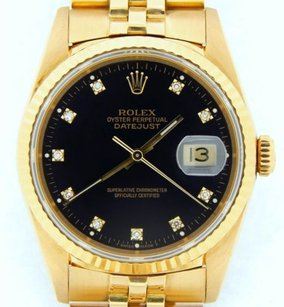 Rolex Rolex Solid 18k Yellow Gold Datejust Wfactory Diamond Dial Jubilee Band 16238