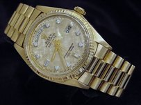Rolex Rolex Solid 18k Yellow Gold Day Date President Watch W Linen Diamond Dial 1803