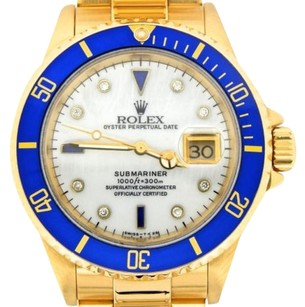 Rolex Rolex Solid 18kt 18k Yellow Gold Submariner Mop Diamond Serti Blue Sapphire Sub