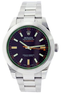 Rolex Rolex Milgauss Stainless Steel Green Sapphire Black Dial Men's watch