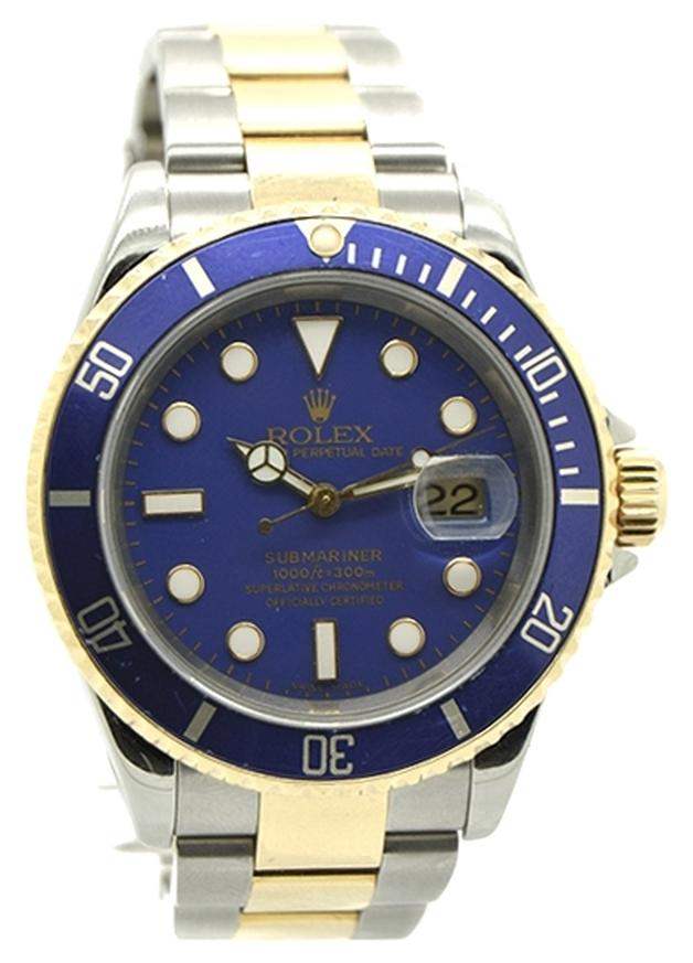 rolex rolex submariner 18k yellow gold and steel blue dial menu0027s watch