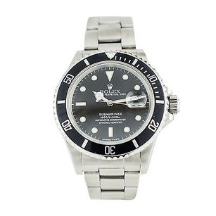 Rolex Rolex Submariner 168000 Stainless Steel Black Dial Date Automatic Watch Mens