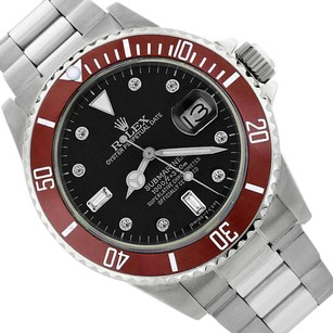 Rolex Rolex Submariner Date 16610 Red Stainless Steel 40mm Oyster Band Black