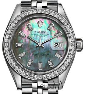 Rolex Rolex Tahitian Mother of Pearl 31mm Midsize Baguette Diamonds Bezel SS