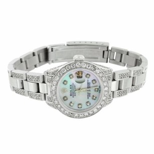 Rolex Ladies Rolex Date Just Watch Green Mop Dial Stainless Steel Jubilee Band Ct