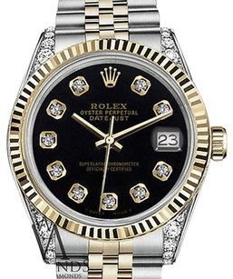 Rolex Ladies Rolex 31mm Datejust Two Tone Black Color Dial With Diamonds Watch