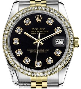 Rolex Ladies Rolex 31mm Datejust Tone Black Color Dial With Diamonds Watch