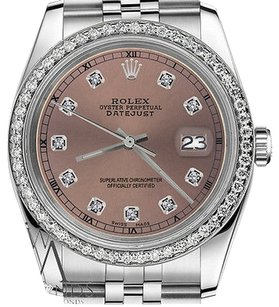 Rolex Mens Rolex 36mm Datejust Salmon Color Dial With Diamond Accent Rt Watch