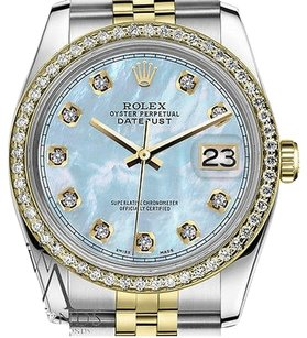 Rolex Ladies Rolex 31mm Datejust Tone Baby Blue Mop Motherofpearl Dial With Diamond