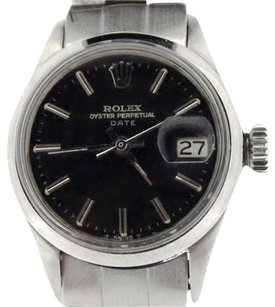 Rolex Vintage Rolex Date Lady Stainless Steel Watch Oyster Domed Bezel Black Dial 6517