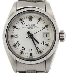 Rolex Rolex Oyster Perpetual Date Ladies Stainless Steel Watch White Roman Dial 6916