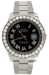 Rolex Mens 41mm 116300 Rolex Datejust Ii Steel Diamond Watch Black Roman Dial Ct