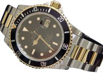 Rolex Rolex Submariner Date 18k Yellow Gold Steel Watch Black Dial Bezel Sub 16613