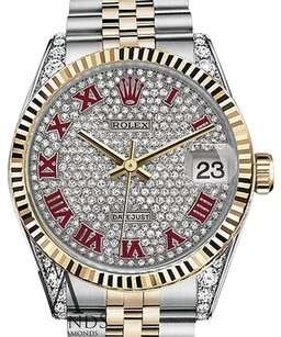 Rolex Rolex Datejust Pave Red Roman Diamond Dial Stainless Steel And 18kt Yellow Gold