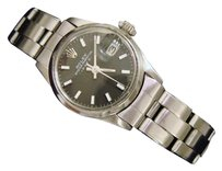 Rolex Vintage Rolex Date Ladies Stainless Steel Watch Oyster Bracelet Black Dial 6516