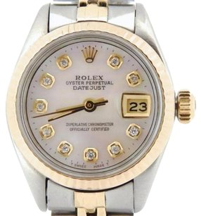 Rolex Rolex Datejust Ladies 2tone 14k Gold Stainless Watch White Mop Diamond Dial 6917