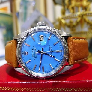 Rolex Mens Rolex Oyster Perpetual Datejust Stainless Steel Blue Face Watch