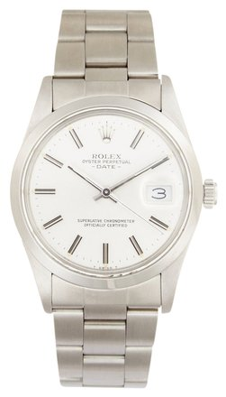 Rolex Rolex Date Stainless Steel Silver Index Dial Men's Watch