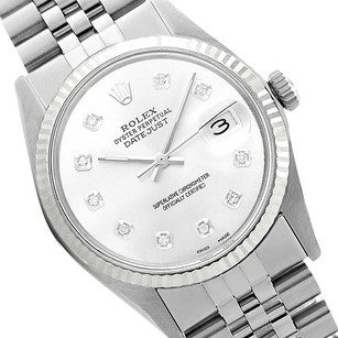 Rolex Preowned Datejust SIlver Diamond Dial Mens Watch 36mm 16014
