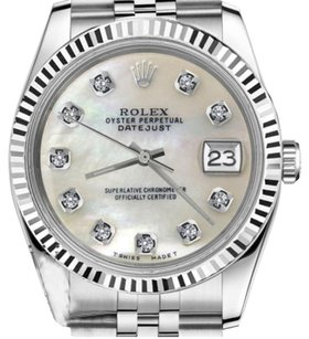Rolex Women`s 26mm Datejust White MOP Mother Of Pearl Diamond Dial Watch