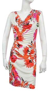 Ronni Nicole Womens Off White Floral Print Sheath Size Dress
