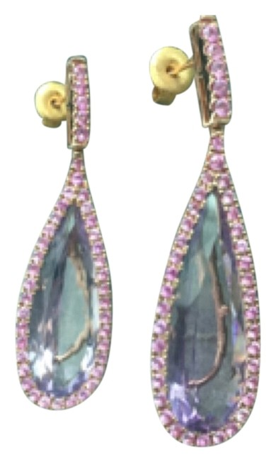 Rose Gold pink sapphires and pink topas  earrings