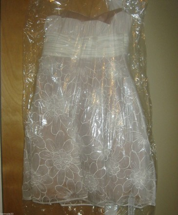RSVP Ivory Silk Strapless Lace Modern Wedding Dress Size 6 (S)