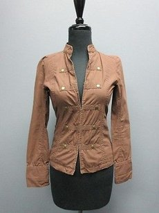 Rubbish Long Sleeve Clasp Buttons Mock Neck Solid Sm9324 Brown Jacket
