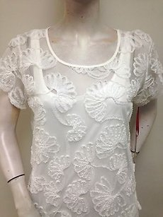 Ruby Rd. Sheer Mesh Ribbon Floral Applique With Tank 31571 Top White