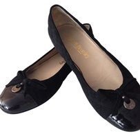 Russell & Bromley Suede Patent Leather Ballet Black Flats