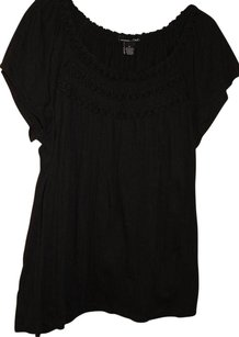 RXB Braid Trim Short Sleeve Crinkle Cotton Top Black
