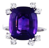 S + F Antique Vintage 18k White Gold Amethyst Diamond Ring