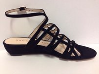 Sacha London Kid Suede Zinda In Box Strappy Black Sandals