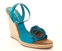 Saint Laurent Yves Leather Floral Espadrille Sandal Wedge Teal Platforms