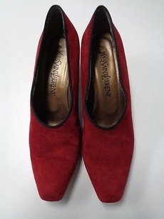 Saint Laurent Yves Squared Toe Low Heels N Leather B3206 Red And Black Pumps