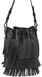 Saint Laurent Italian Leather Studded Fringe Hem Luxury Shoulder Bag