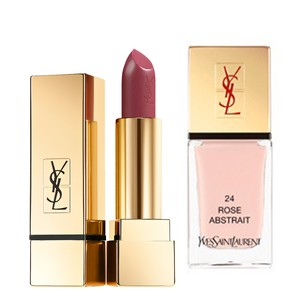 Saint Laurent Lipstick No. 52 Rose Stiletto Nail Polish No. 25 Rose Romantique Pink