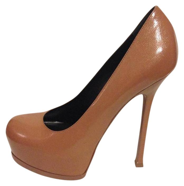 Saint Laurent Ysl Platform Tribtoo Heels Tribute Nude Pumps ...