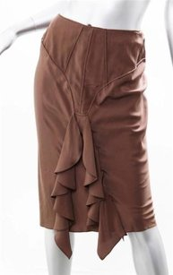 Saint Laurent Yves Silk Skirt Brown